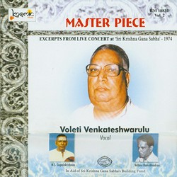 Listen to Ragam Tanam Pallavi Raga Todi Tala Khanda Jati Triputa songs from Master Piece - Vol 2 Live 1974 Voleti Venkateshwarulu